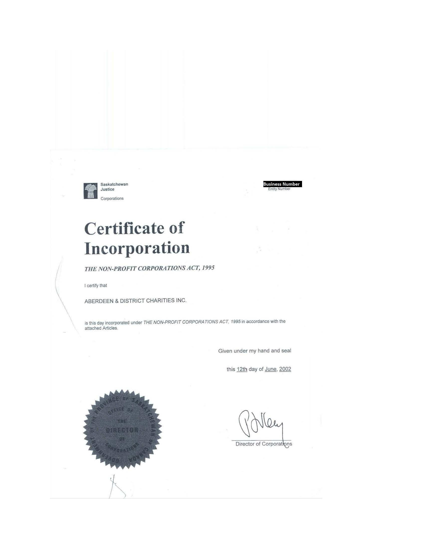 How do i register techsoup canada view example of new brunswick certificate saskatchewan the document required is certificate of incorporation issued by the province of saskatchewan yadclub Images