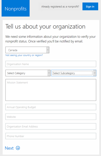 Office 365 Nonprofit is available for charities and
