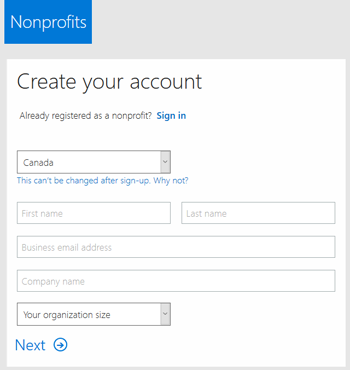 Screenshot: Create MS Nonprofit Portal Account