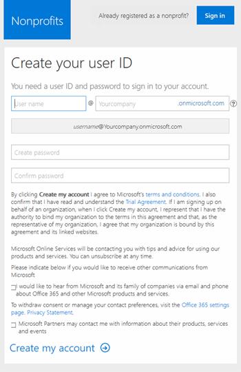 Screenshot: Create User ID