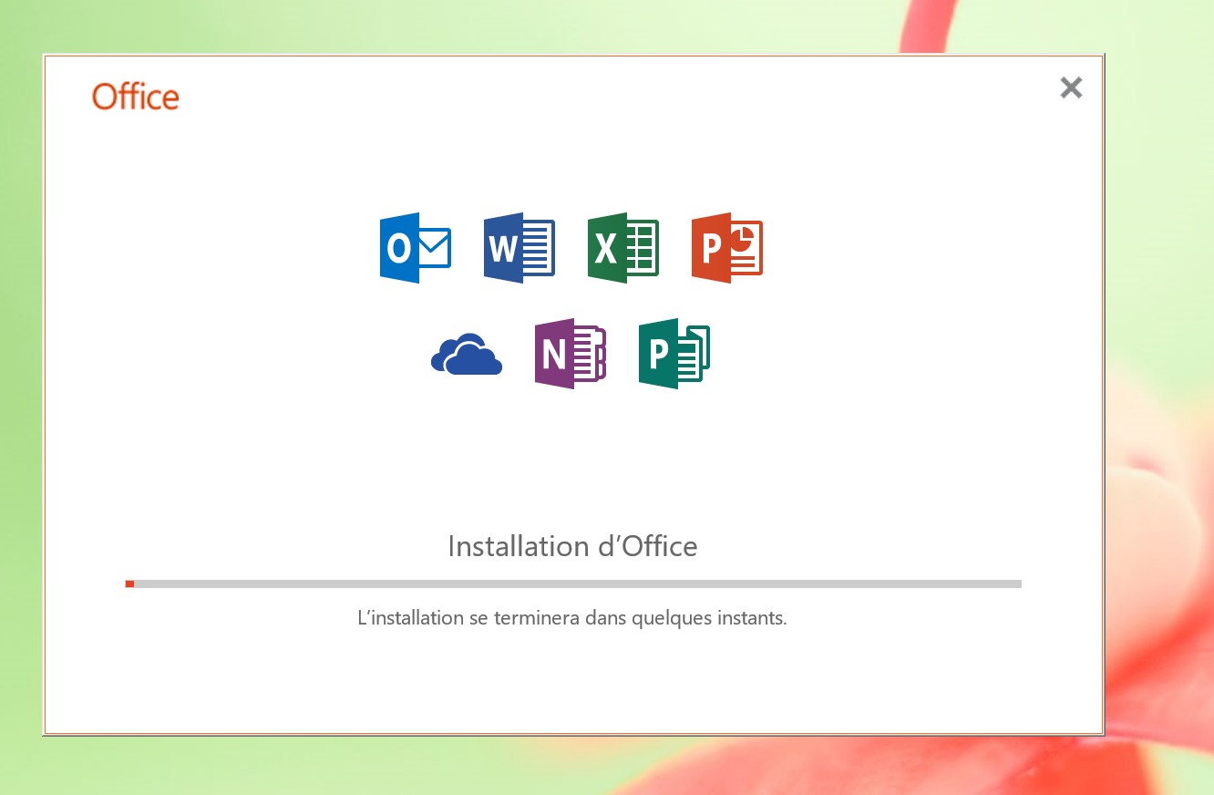 Une boîte de dialogue affiche la progression de l'installation de Microsoft Office 2019.