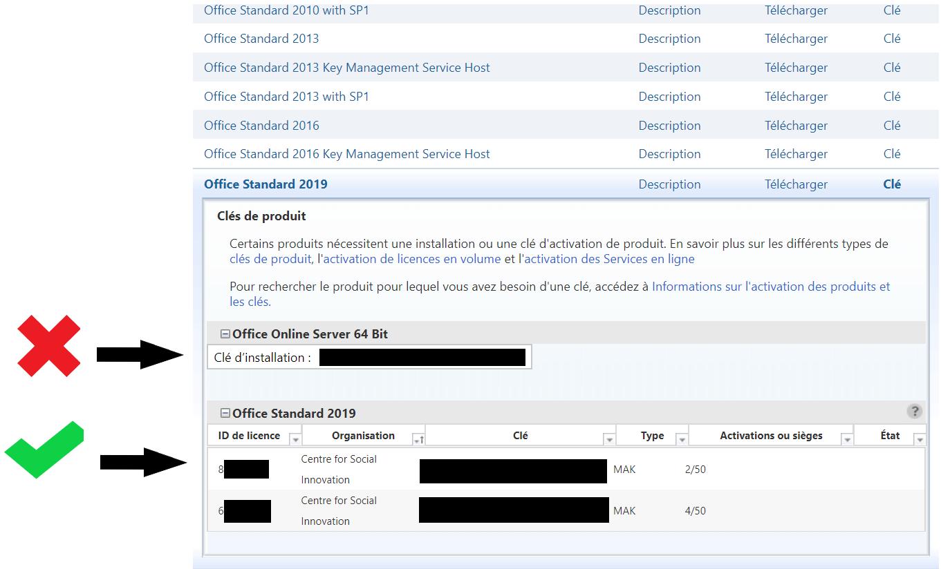 Site web du Centre de service de licences en volume; sous l'onglet Téléchargements et clés; le tableau de clés correct qui est intitulé 'Office Standard 2019' et le tableau de clés incorrect est intitulé 'Office Online Server 64 bits'.
