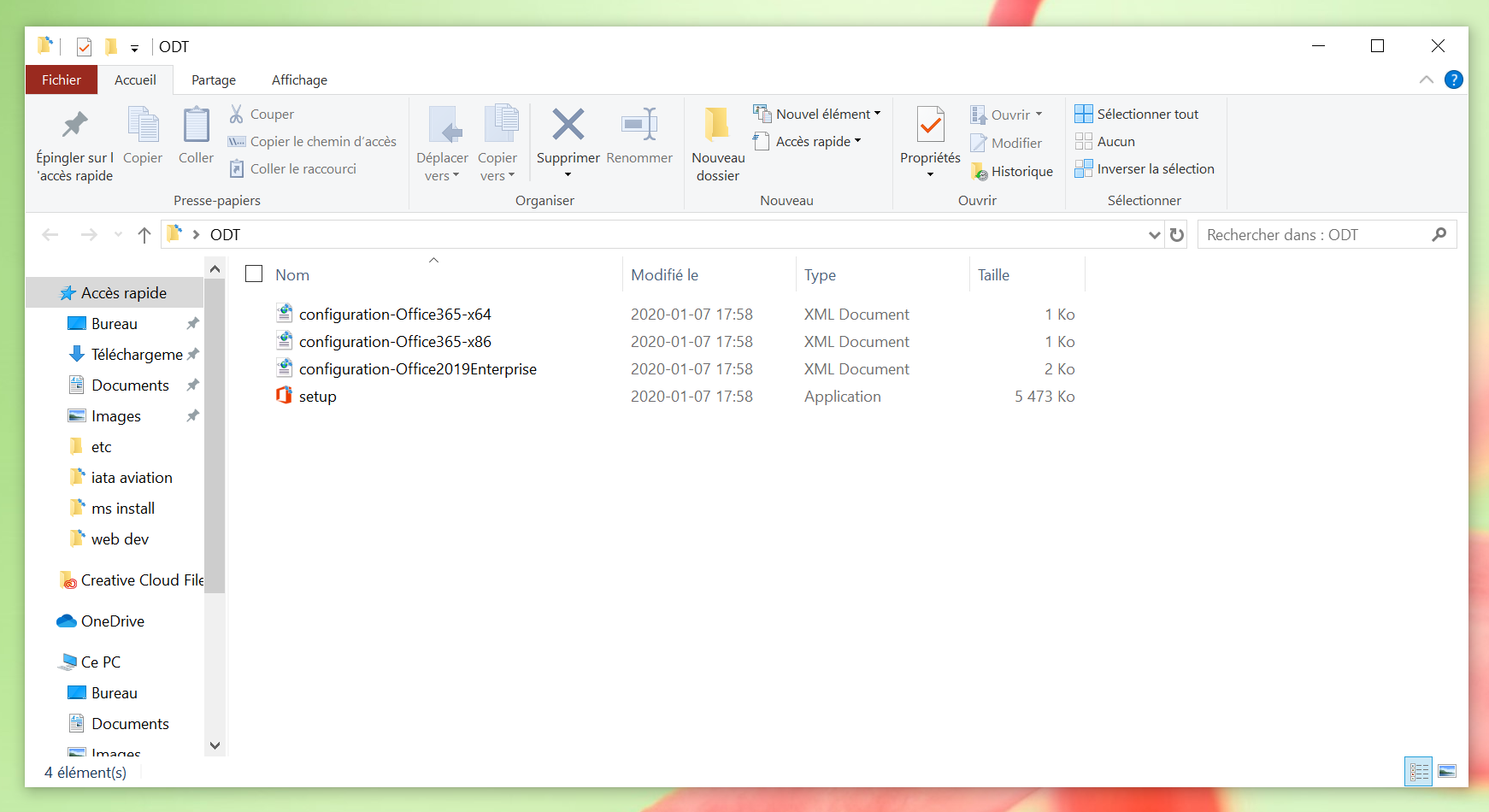 Le dossier ODT est ouvert pour afficher le contenu; il contient configuration-Office365-x64.xml, configuration-Office365-x86.xml, configuration-Office2019Enterprise.xml et setup.exe