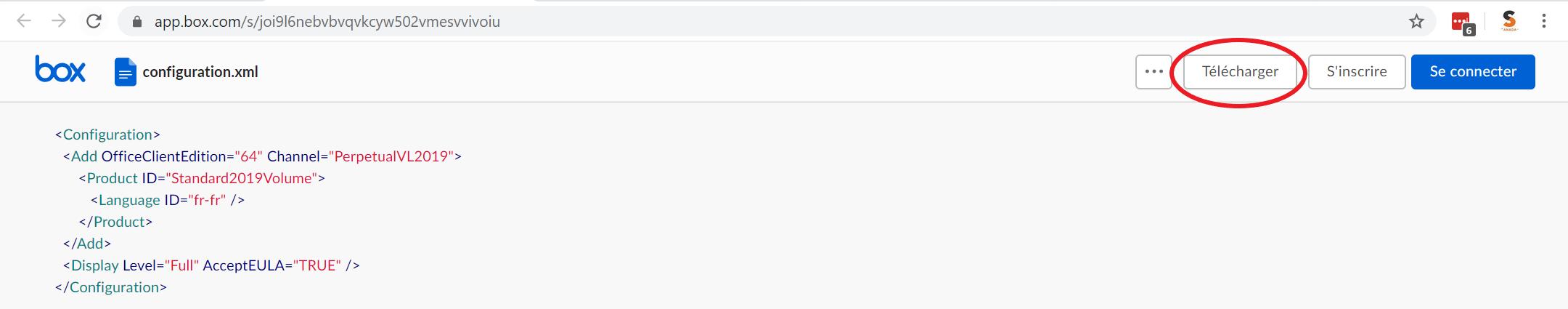 Box.com affiche le contenu de configuration.xml; un cercle rouge survole le bouton 'Télécharger'