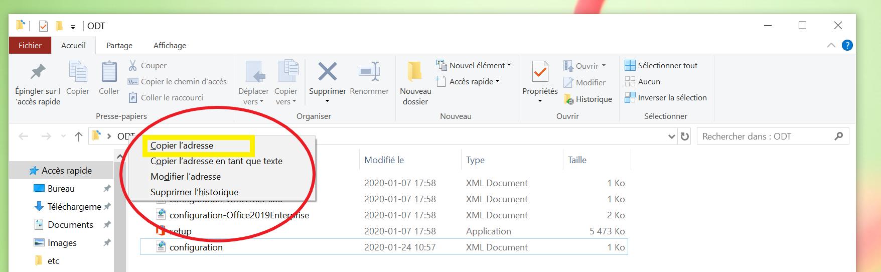 Le dossier ODT; une liste d'options à partir d'un clic droit sur la barre d'adresse s'affiche et l'option 'Copier l'adresse' est mise en surbrillance.