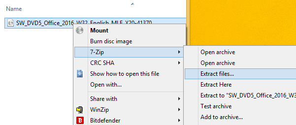 Right-click menu on the ISO file. The option 7-zip is highlighted. Another menu appears beside the first. The option Extract files is selected.