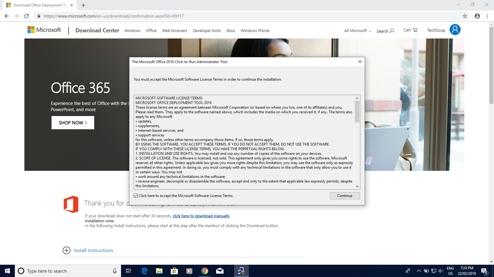 Image shows a dialog box for The Microsoft Office Click-to-run Administrator tool; the box contains the prompt to accept Microsoft's Software Licence Terms.