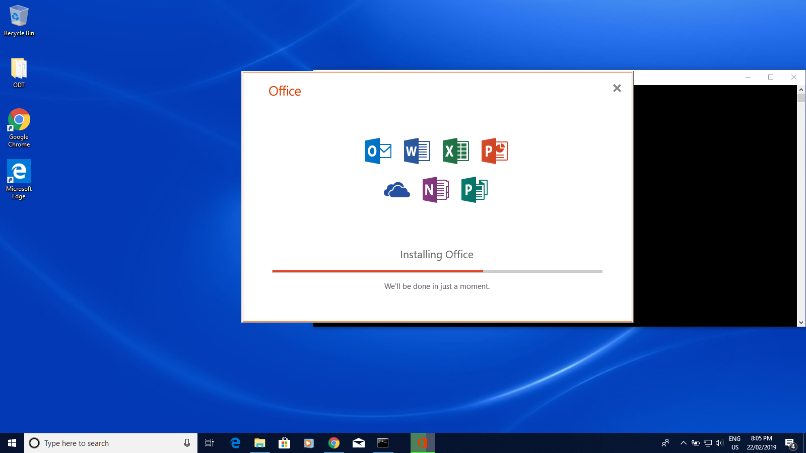 Dialogue box displays the progress of the installation of Microsoft Office 2019.