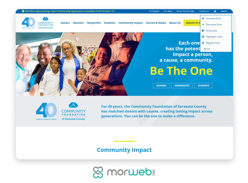 Take a look at this example of an accessible nonprofit website