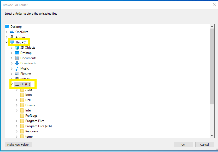 ODT dialogue box; the Folder called This PC is expanded. Within This PC, the folder called OS (C:) is expanded.