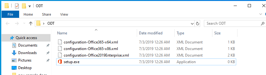 The ODT folder is opened to display the contents; it contains configuration-Office365-x64.xml, configuration-Office365-x86.xml, configuration-Office2019Enterprise.xml, and setup.exe.