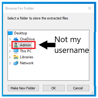 ODT dialogue box contains a user folder called Admin - this is not my username. Expand the section below for more instructions.
