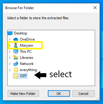 ODT dialogue box showing folders immediately available; among them the username Maryam is highlighted. At the bottom of the list, the ODT folder is highlighted for selecting.
