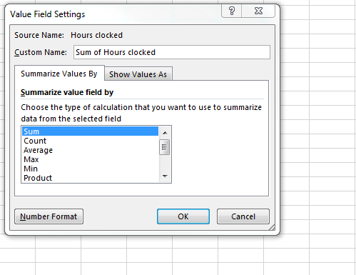 Screenshot: Summarize value field
