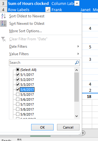 Screenshot: Filtering by date