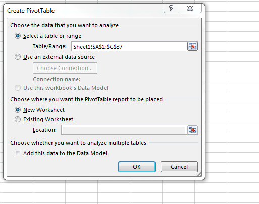 Screenshot: Create Pivot Table