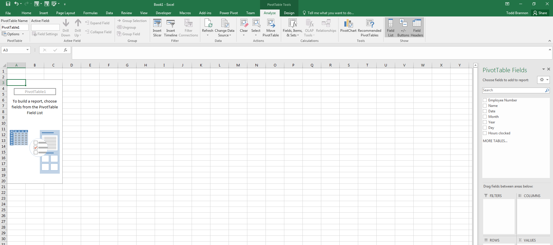 Screenshot: New Pivot Table