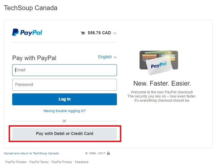 PayPal checkout option to Pay with Debit or Credit Card