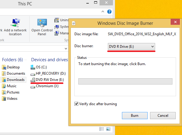 Burn Step 4: Selecting the correct drive and clicking the Burn button
