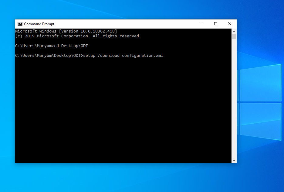 Command prompt window. The last line reads C:\Users\Maryam\Desktop\ODT[greater than symbol]setup /download configuration.xml