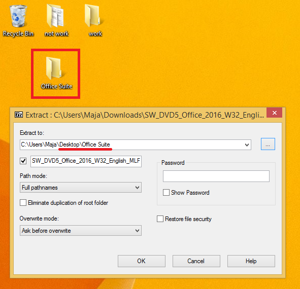 The destination of the files is specified in the 7-Zip window. The destination is C:\Users\Maja\Desktop\Office Suite.