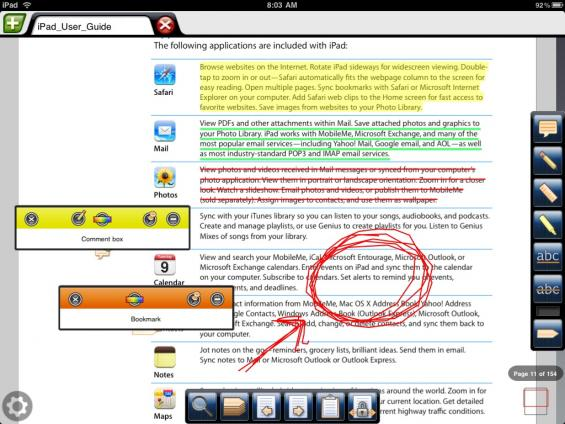 Annotating a PDF with an iPad