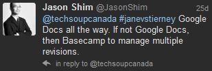 Jason Shim suggests Google Docs, or Basecamp for managing document versions