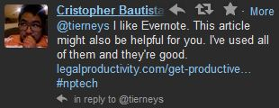 Cristopher suggests Evernote