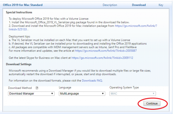 The download tab for Office 2019 for Mac Standard is selected. There is a large square underneath with download instructions. The continue button at the bottom right of the square is highlighted.