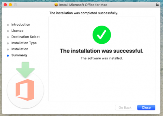 The Mac installer displays a message stating that The installation was completed successfully.