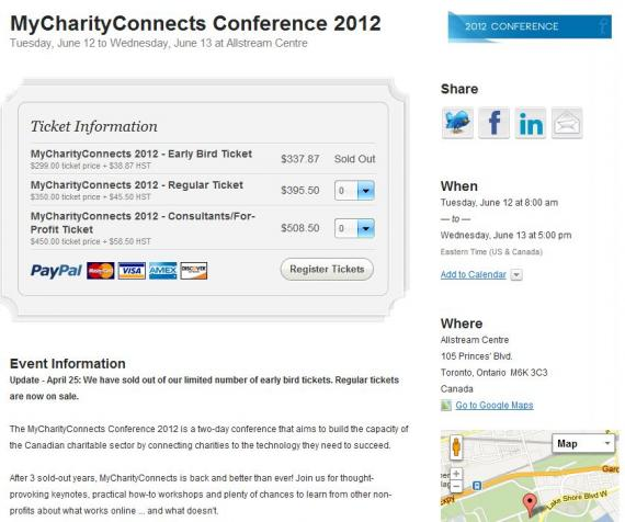 Registration form for My Charity Connects conference 2012