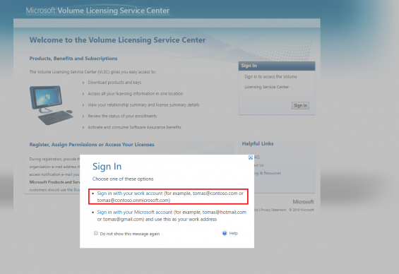 A pop-up window displays over the VLSC home page. The pop-up asks the user to sign in with the their work account or their Microsoft account. The option for work account is highlighted.