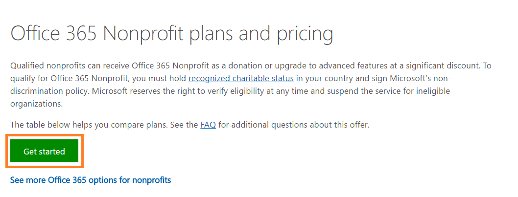 Screenshot of Office 365 Nonprofit Get Started button
