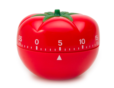 A pomodorro kitchen timer