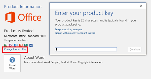 Entering the product key by opening an Office Suite application and selecting Account and then 'Change product key'.