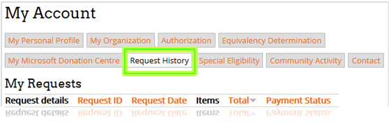 """Your """"Request History"""" tab"""