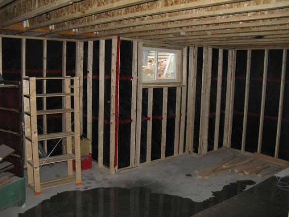 Unfinished, wet basement