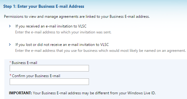 Registration Step 5: enter your business email address