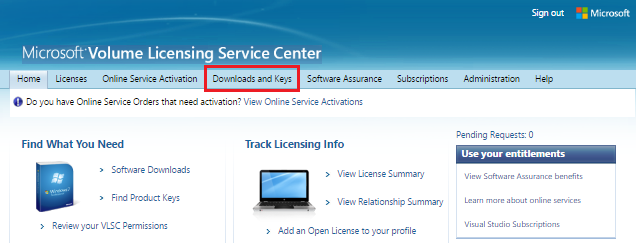 "VLSC home page after logging in. There is a main menu bar with several options. The tab called ""Downloads and Keys"" is highlighted."
