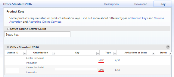 The Key tab in-line with the product name is selected. A table of available product keys displays.