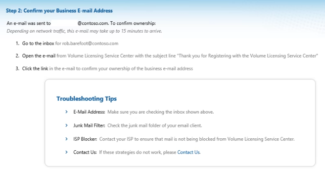 Registration Step 7: confirm your business email address